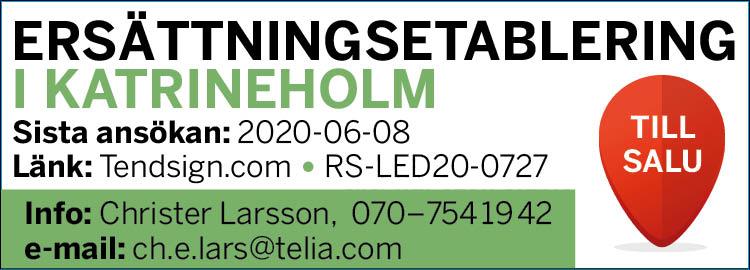 Annons ersättningsetablering Katrineholm