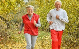 Ett par springer i en park i höstskrud.